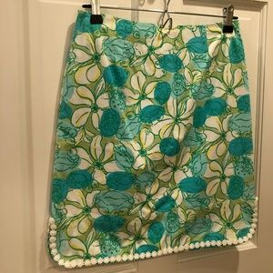 Vintage Lilly Pulitzer Green Crab Skirt Size 2